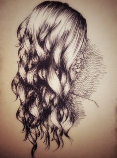 Curly hair drawing in Ink How to Draw Hair Sketch girl woman