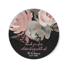 #Pink Rose Glitter Roses Dark Floral Glam Favor Classic Round Sticker - #flower gifts floral flowers diy