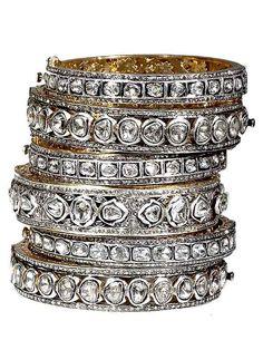 14K Yellow Gold Gallery and Oxidized Silver Rosecut Diamond Bangle at Jennifer Miller Jewelry