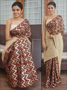Zig zag patterned semi silk saree. Pallu- Shimmery beige Bloue- Creme or mustard silk cotton