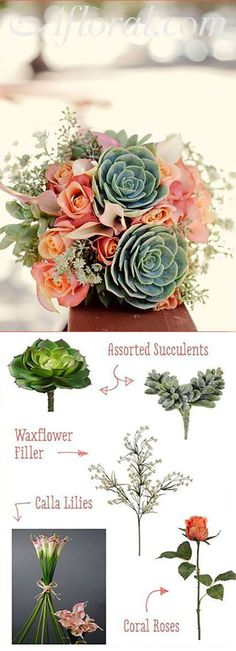Fill you bohemian wedding with faux succulents and cheap wedding flowers from Afloral.com.  Recreate your favorite Pinterest bouquets, on your own, with silk wedding flowers from Afloral.com.  Faux succulents look like the real thing, cost less and can be used in any of your DIY floral arrangements. Inspiration Bouquet by Bryan Butler | First Comes Love