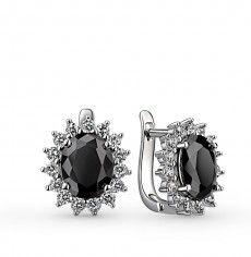 Серьги, вставка:  фианит; фианит черный; Серебро 925 пробы. 21509