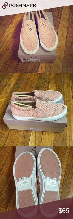 Clarks Dusty Rose Pink Perforated Slip On Sneakers These are new and never worn pair of perforated Dusty Rose pink slip on sneakers. I had sold a pair a while ago but this was my spare pair because I loved it so much that I had two but I'd didn't want to sell them cause they're so cute! Sadly they don't fit me anymore so I rather pass these on instead of letting is sit in my closet. Super comfortable and part of Clarks signature collection. Suede upper. The style name of these are called…