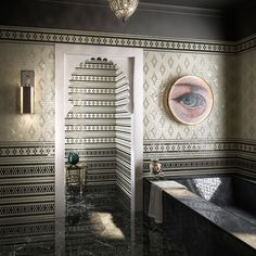 Sicis Crystal Collection can inspire a lot of interior spaces with stunning results such as this one, characterized by the arabesque pattern. Marble Mosaic, Mosaic Art, Mosaic Glass, Mosaic Tiles, Sicis Mosaic, Guest Bathrooms, Bathroom Ideas, Arabesque Pattern, Exterior Cladding