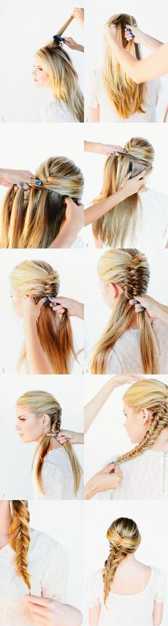 Easy Fishtail Braid... Kristen learn how to do this so my fishtail will be higher up then usual