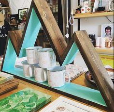 3 Peak Mountain Two Toned Wall Art Shelf Bookshelf