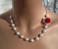 Elegant Bridal JewelryRed color Rose Pearl Necklace by SunVDesigns, $37.97