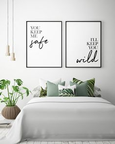 Bedroom Printables: You Keep Me Safe I'll Keep You Wild (Set of Couple Bedroom Print, Bedroom Wall Art, Bedroom Decor *Instant D. Home Decor Bedroom, Bedroom Wall, Bedroom Furniture, Diy Home Decor, Diy Bedroom, Bedroom Decor For Couples On A Budget, Bed Room Wall Ideas, Canvas For Bedroom, Wall Art Bedroom