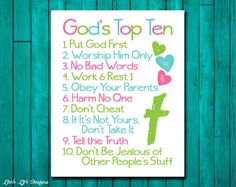 Christian Wall Art. Ten Commandments. Bible Verse. God's Top Ten for Kids. Exodus 20. 10 Commandments. Little Girl Room Decor. Baptism Gift. on Etsy, $8.00