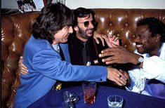 George Harrison, Ringo Starr and Billy Preston during Ringo Starr Party at Bar One - October 9, 1990 at Bar One in Los Angeles, California, United States.