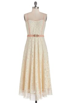 An Elegant Air Dress - Lace, Trim, Daytime Party, A-line, Strapless, Better, Long, Woven, Lace, Cream, Pink, Solid, Belted