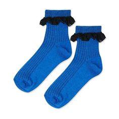 TopShop Lace Trim Ankle Socks ($2) ❤ liked on Polyvore featuring intimates, hosiery, socks, tennis socks, topshop socks, ankle socks, short socks and cotton socks