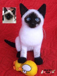 Custom Needle Felted Cat Thai Siamese Kitty von WoolArtToys auf Etsy