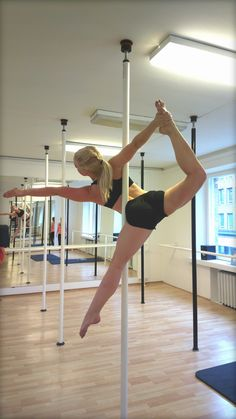 Pole ballerina! Learned this week in class - gotta work on that back/shoulder flexibility to reach around the pole!