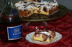 Fresh Plum Cake Recipe is baked in a 9 inch spring form pan. Bake for 45 minutes. A delicious cake not real sweet but a glaze can be added for extra sweetness.