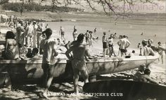 The beachfront of the Halekai Army Officers' Club on Waikiki Beach. Outrigger Canoe, Aloha Hawaii, Waikiki Beach, Vintage Hawaii, Hawaiian Islands, Photo Postcards, Oahu, 1940s, America