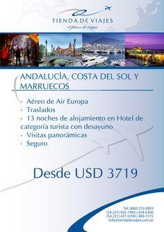#Andalucia #CostadelSol #Marruecos Tarifas por persona en base doble sujetas a modificaciones, expresadas en dólares. Consultar.