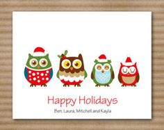 Set of 8 Owl Family Christmas Cards Note by PaperHouseDesigns