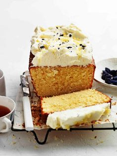 lemon pound cake with crème fraîche & violets