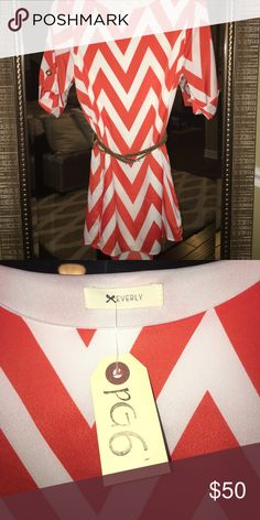 BNWT!!! Zig Zag Striped dress BNWT- Cute for summer! Orange and White Zig Zag Striped Dress pair with sandals or booties and a belt! (Belt not included) Everly Dresses Midi