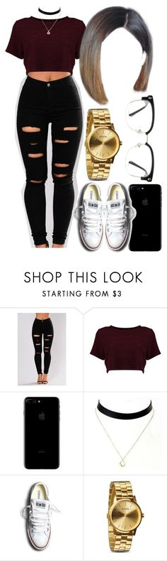 """Untitled #579"" by foreverkaylah ❤ liked on Polyvore featuring Boohoo, Converse, Nixon and GlassesUSA"