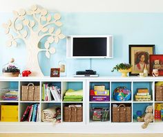 more kid storage {good for a basement family room}