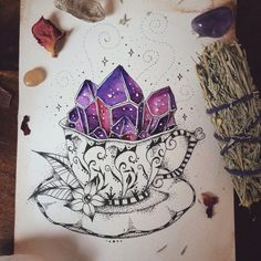 Amethyst Elixir ~Original Artwork ~ Crystal ~ Lines dot work Tattoo Art ~ gothic