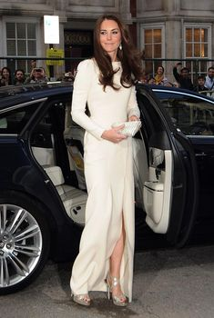 Kate Middleton in a white Mouret gown