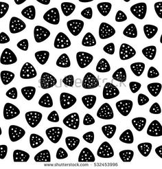 Vector monochrome seamless pattern, black rounded triangle perforated shapes on white background. Abstract endless texture for fabric print, card, cloth, banner, cover, decoration, wrapping, digital