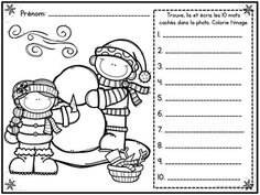 Hiver (Winter I Spy - French Sight Wor Name Practice, Sight Word Practice, Writing Practice, Sight Words, French Grammar, Letter Formation, I Spy, Activity Sheets, Teaching French