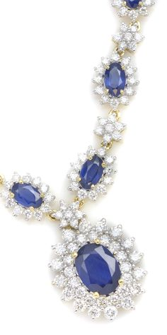 3.75 ctw Sapphire Oval & 2.25 ctw Diamond Round 14K Yellow Gold Necklace Length 18.00 - Gem Shopping Network