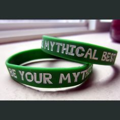 http://store.dftba.com/products/be-your-mythical-best-wristband  BE YOUR MYTHICAL BEST WRISTBAND by Rhett & Link Everyone wants to be their mythical best! Remind yourself daily with this awesome wristband. Made of silicone, the letters are debossed and color-filled to last!