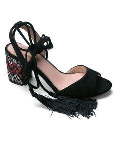 Look at this #zulilyfind! Black Tassel Vivian Sandal #zulilyfinds