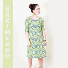 Naisten Arkimekko kaava Diy And Crafts, Arts And Crafts, Sewing Lessons, Learn To Sew, Fabric Crafts, High Neck Dress, Dresses For Work, Knitting, Casual