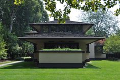 Frank Lloyd Wright Designed House - Craftsman - Exterior - Other Metro - Bayer Landscape Architecture, PLLC Ranch House Plans, New House Plans, Planter Bench, Prairie House, Craftsman Exterior, Garden Pictures, Frank Lloyd Wright, Stone Houses, Landscape Architecture