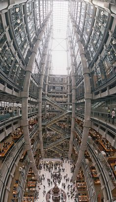 Lloyds building, London. This Richard Rogers design the building was innovative when built 20 years ago in having its services such as staircases, lifts, electrical power conduits and water pipes on the outside, leaving an uncluttered space inside.