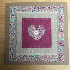 hand stitched fabric applique card, handmade greeting card, fabric card by WoodedgeCrafts on Etsy