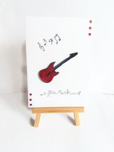Quilled guitar card birthday card you rock card by KaisCards
