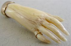 century Ivory carved Hand broach mounted in Gold setting. Likely French. Antique Jewelry, Vintage Jewelry, Victorian Jewelry, Victorian Era, Show Of Hands, Hand Jewelry, Jewellery, Hand Art, Bone Carving