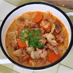 Cabbage soup with sour cream Sour Cabbage, Cabbage Soup, Hungarian Recipes, Hungarian Food, Goulash, Sour Cream, Ketchup, Thai Red Curry, Food And Drink
