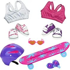 This set is great for the doll aspiring to be the next Tony Hawk! My Life Doll Stuff, My Life Doll Accessories, American Girl Doll Room, 18 Inch Doll, Girl Dolls, Doll Clothes, Girly, Tony Hawk, House 2