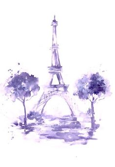 Eiffel Tower Print from Original Watercolor Paris Illustration - Paris Cityscape Illustration