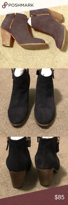 Boden Navy Suede Booties Dark navy suede with a natural colored 3 inch heel. No scuff marks or stains. Suede is in near perfect condition. Only worn <5 times. Ankle bootie. I am a size 8.5 but sized up to a 9 (euro39) in these shoes as they ran a half size small. Boden Shoes Ankle Boots & Booties
