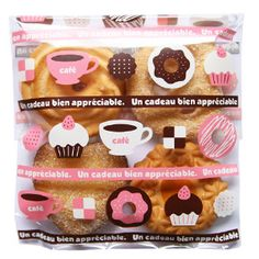 Donut Coffee Cellophane Bags for cute gifts. Special gift ideas. Korean packaging designs.    http://www.morecozy.com