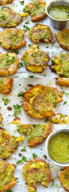 Garlic Pesto Smashed Potatoes – the best potatoes recipe ever with smashed baby potatoes topped with delicious garlic pesto. So good | http://rasamalaysia.com