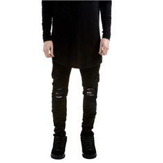 Designer Brand New Men Black Jeans Skinny Ripped Stretch Slim Fashion Hip Hop Swag Man Casual Denim Biker Pants Overalls Jogger Black Skinnies, Black Biker Jeans, Biker Jeans Men, Skinny Biker Jeans, Black Ripped Jeans, Super Skinny Jeans, Biker Pants, White Jeans, Cargo Pants