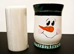 Hand Painted Snowman Candle Holder