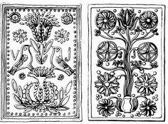 Madaras - Napszimbólumos - World Tulip tree - Bánffyhunyadi tiles Hungarian Embroidery, Folk Embroidery, Embroidery Patterns, Learn Embroidery, Bordado Popular, Metal Embossing, Scandinavian Art, Chain Stitch, Milky Way