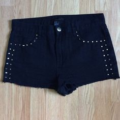 Forever 21 studded black denim shorts Cute, edgy shorts new without tags, no studs missing! Forever 21 Shorts Jean Shorts