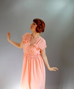 Sale  Vintage 1930s Peach Day Dress Depression Era by gogovintage, $98.00